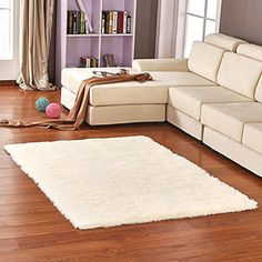 OJIA Deluxe Home Decorative Soft Shag Area Rug for Living Room Bedroom Parlor Kitchen Floor 32 x 48 Inch Beige -- Check out the image by visiting the link. (This is an Amazon Affiliate link)