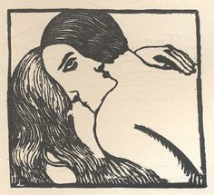 La Baiser, Sonia Lewitzka woodcut,    1920s