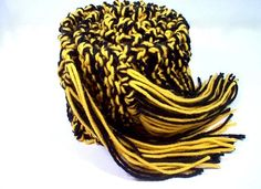 Hand Knit College Scarf - Black & Gold or bright yellow- Pittsburgh Steelers, Alabama State, University of Central Florida  Purdue University, Wichita State  Grambling State, Southern Mississippi, University of Missouri, Appalachian State, Wake Forest, Vanderbilt University, Virginia, Commonwealth University, West Point Military Academy by StellasKnits