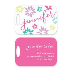 Flower Pop Personalized Luggage Tag by Peony Hill Press. These make great gifts for grads, dads, moms, newlyweds and more! #peonyhillpress #php #luggage #luggagetag #baggage #baggagetag #gift #newlywed #kid #grad #popofcolor #flowers