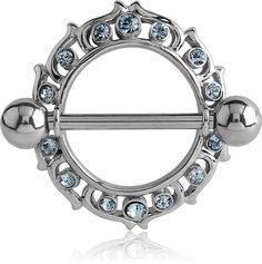 1 Pièce Acier Chirurgical Double GEM Nipple Ring Body Piercing Bar Shield Jewelry