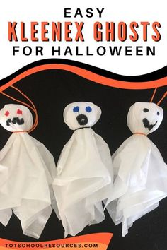 These kleenex ghosts are a perfect Halloween craft! Quick and easy they are perfect for preschool or school age kids. When you're done you can hang them around for some cute DIY Halloween decor! Halloween Crafts for Kids #Halloween #crafts #preschool #elementary #halloweencraft #ghosts