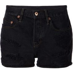 NSF 'Kit' denim shorts (14,640 PHP) ❤ liked on Polyvore featuring shorts, bottoms, pants, short, black, black jean shorts, denim shorts, short shorts, black cotton shorts i nsf