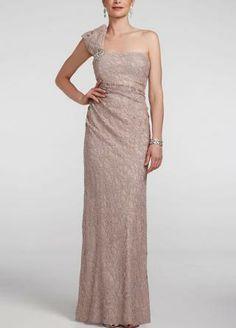 One Shoulder Stretch Lace Long Dress - David's Bridal- mobile