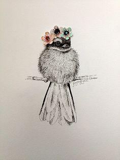 "Artist Krystal Lynn ""Baby Piwakawaka's Manuka Crown"" pen drawing with paper flowers"