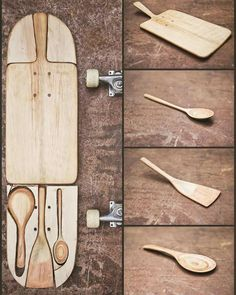new life of a old skateboard. Skateboard Furniture, Skateboard Design, Skateboard Art, Diy Hacks, Woodworking Plans, Woodworking Projects, Wooden Spoons, Skateboards, Wood Carving