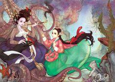 한복 HANBOK, Korean traditional clothes  | WOOHNAYOUNG[흑요석] — The Little Mermaid Digital drawing, 2013. ...