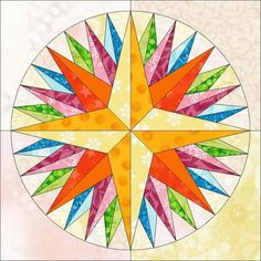Mariner's compass quilt block pattern by trilliumdesign