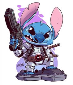 Stitch Commission - The request was to combine Stitch, Stormtrooper and Deadpool. This is what the result was. Thanks to everyone who purchased a commission through my kickstarter campaign. No more commissions for a while but maybe in the fall if. Chibi Marvel, Marvel Art, Cartoon Drawings, Cartoon Art, Disney Art, Walt Disney, Desenho New School, Stitch Drawing, Chibi Drawing