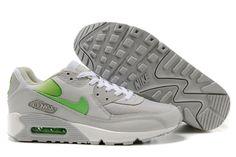 newest 43b86 d4dfa MensWomens Nike Air Max 90 Shoes Light GrayApple Green Acheter  Chaussures,