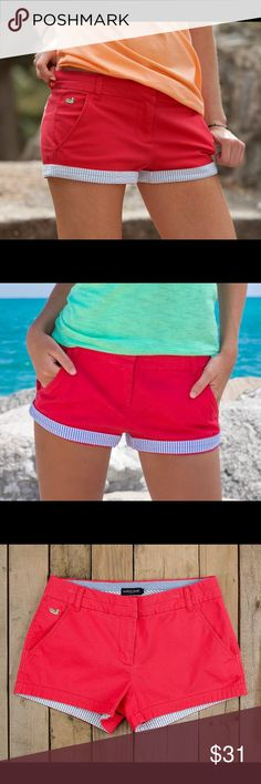 Brighton Chino - Strawberry Fizz Multiple Sizes available. Bright Red with blue seersucker shorts available by Southern Marsh. bottoms have the Seersucker flap that can be flipped up or down to show the red side! Southern Marsh Shorts