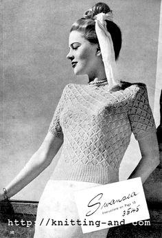 The Vintage Pattern Files: 1940s Knitting - Swansea Blouse  Free Vintage Knitting Pattern
