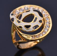 R0015. US $ 7.00/piece.Cheap Rings,Elegant Clear Crystal Spiral Alloy Gold Plated Enamel Rings for Women. Size : 5.5, 6.5, 8, 9.