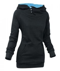 Buttons Design Solid Colour Long Sleeve Pullover Hoodie