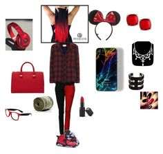 """Red and black outfit"" by happynini ❤ liked on Polyvore featuring rag & bone, NIKE, Disney, Beats by Dr. Dre, Victoria Beckham, Fragments, Atelier Swarovski, Barry M and Retrò"