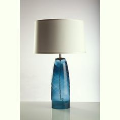 Royal Blue Glass Lamp with Ivory Silk Shade by LovingLighting, $169.00