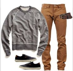Grey sweater and khaki chinos go so well together. A casual get up you could wear any day. Put on a comfy blazer to dress it up a bit for a night out with friends and even client meet up.