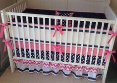 Preppy Pink Navy and White Ruffled Crib by butterbeansboutique
