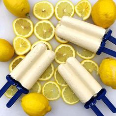 Ice cold Lemon Creamsicles made with Complete Whey protein powder and fresh lemons! Whey Protein Recipes, Healthy Recipes, Chocolate Chip Recipes, Chocolate Chips, Bodybuilding Recipes, Whey Protein Powder, Eating Fast, Food Substitutions, Potato Skins