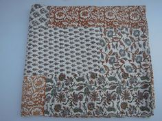 Patchwork Hand Block Printed Kantha Quilt Throw by Labhanshi, $75.00