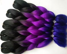 Free shipping ombre braiding 3 toned colour Kanekalon jumbo braiding 5 pieces/lot synthetic braiding hair Black+Purple+Blue – Hair Extensions