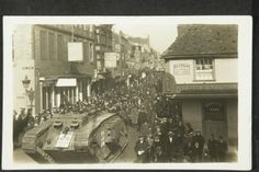 A First World War tank being driven through the streets of Salisbury in early 1918 during a War Bond drive. Picture by: Salisbury  South Wiltshire Museum.