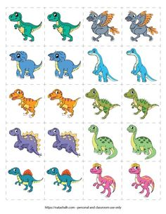 This free printable dinosaur matching game is perfect for the dino-loving child in your life! Pick from a classic memory game or challenge your children with a more advanced shadow matching and mirror image matching Dinosaur Theme Preschool, Dinosaur Games, Dinosaur Printables, Dinosaur Activities, Dinosaur Crafts, Printable Activities For Kids, Toddler Learning Activities, Preschool Activities, Free Printables