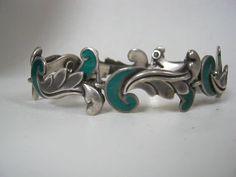 Margot de Taxco Vintage Mexican Silver & Enamel Bracelet