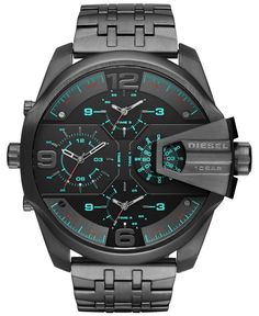 Uber Chief Two Hand Stainless Steel Watch. Dominate the field in the black metal Diesel Uber Chief watch. The textured black chronograph dial features applied white iridescent Arabics with white track Diesel Watches For Men, Army Watches, Wrist Watches, Casual Watches, Cool Watches, Stainless Steel Watch, Stainless Steel Bracelet, Expensive Watches, Beautiful Watches
