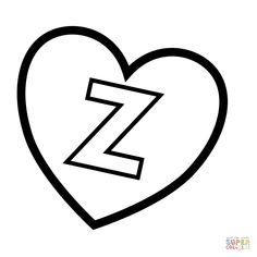 Letter Z in Heart coloring page from Valentine's Day English Alphabet Letters category. Select from 31983 printable crafts of cartoons, nature, animals, Bible and many more. English Alphabet Letters, Printable Alphabet Letters, Alphabet Book, Printable Crafts, Free Printables, Heart Coloring Pages, Free Printable Coloring Pages, Handwriting Practice, Letters And Numbers
