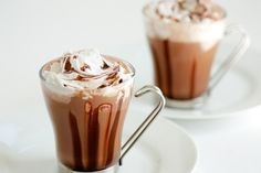 Hot Chocolate with Coconut Whipped. Hot Chocolate with Coconut Whipped Cream - a healthy way to satisfy your chocolate craving. Hot Chocolate Ingredients, Chocolate Recipes, Chocolate Making, Chocolate Food, Decadent Chocolate, Healthy Christmas Recipes, Chocolate Caliente, Coconut Whipped Cream, Coconut Milk
