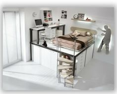 Ich liebe diese Idee von einem höher gesetzten Bett mit den Schränken darunter, aber ich glaub meine Zimmerdecke ist zu tief