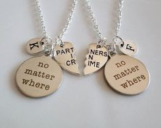 No matter where, Partners in crime necklaces, Long distance gifts, Best friends necklaces, couple set Sisters Boyfriend Girlfriend gifts