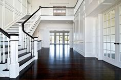 Dream homes, dark wood floors, dream house, stairs moldings, contrasting st