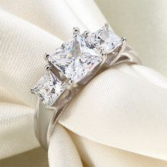 1.5 Carat Princes Cut Simulated Diamond 925 Sterling Silver Anniversary Ring
