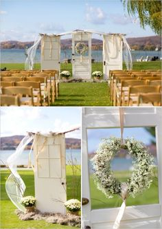 Up cycled old door wedding backdrop for outdoor wedding. Captured By: Stephanie N. Baker ---> http://www.weddingchicks.com/2014/06/06/funky-finds-turned-into-surprising-centerpieces/
