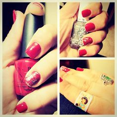 Red nail polish, glitter and princess bandaids...My new nail polish :) Loooove it...OPI ~ called the thrill of Brazil. <3
