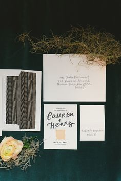 modern wedding invitations, photo by Kate Ignatowski http://ruffledblog.com/new-orleans-inspired-wedding-ideas #stationery