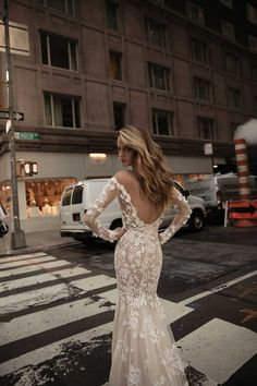 Off the shoulder lace wedding gown with deep opened back | itakeyou.co.uk #wedding #weddingfashion #bridal  #weddingdress #weddinggown #bridalgown #weddingdresses #weddinggowns #berta #bridalinspiration #weddinginspiration #engaged