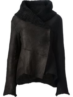 Black lamb skin jacket from Peachoo + Krejberg featuring a high standing fold over collar, an asymmetric style, a concealed button fastening and an unfinished hem. £2,696.39 by farfetch