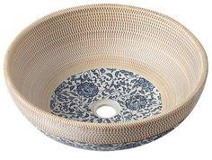 SAPHO PRIORI PI011 - keramické umyvadlo, průměr 42cm, béžová s modrým vzorem | Koupelny SEN