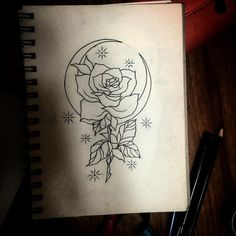 Moon and rose tattoo design