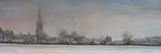 Hanslope Chrch in the Snow Oil on Board
