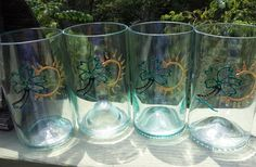 Palm tree recycled blue tinted glasses by ninaralph on Etsy, $40.00