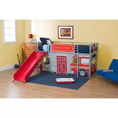 Boys' Fire Department Twin Loft Bed with Slide - Walmart - $199