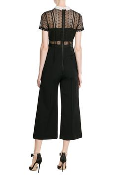 SELF-PORTRAIT Black Lace Panel & Pointed White Collar Jumpsuit with Culottes