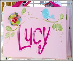 Custom Wall Art Personalized Name Canvas with Bird by ladeedahart, $34.99