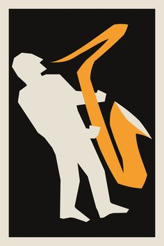 Saxophone Poster, Jazz Gift Idea, Mid Century Illustration, Musician Poster, Orange And Black Music Teacher Blues Music Print Poster Poster Prints, Art Prints, Posters, Art Rules, Buy Art Online, Art Market, Graphic, Jazz, Contemporary Art