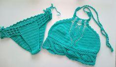 Teal Color Crochet Bikini top and brazilian bottom  by RoseClef