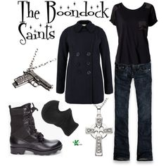 The Boondock Saints by wearwhatyouwatch on Polyvore featuring Serious Sally, Denim & Supply by Ralph Lauren, Hollister Co., Theyskens' Theory, Ice, Club Manhattan, Rick Owens, mel, gun and irish